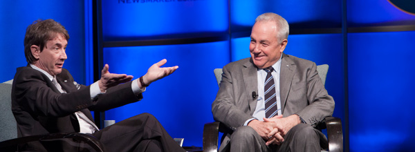 Lorne Michaels and Martin Short on stage for this HRTS Luncheon